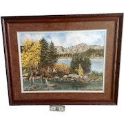P J Simpson, Moose Standing in Water Mountain Landscape Watercolor Painting  Signed By Artist