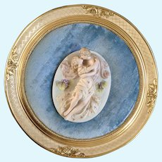 Wall Plaque Courting Kissing Couple Bisque Porcelain  3D Wood Gold Round Frame