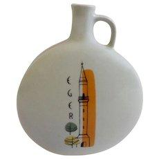 Mid-Century Ceramic Wine Bottle Eger Hungary Kethuda Minaret Tower and Vintage Fruit