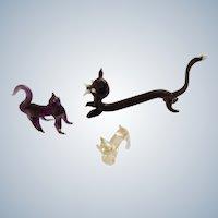 Art Glass Cat Figurines  Bavarian Animal Miniatures Hand Made Blown