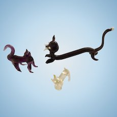Adorable Vintage Black, Purple and White Kitty Cat and Kittens Bavarian Animal Miniatures Hand Made Blown Glass Figurines