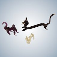 Art Glass Cat Figurines Black Purple and White Kitty and Kittens Bavarian Animal Miniatures Hand Made Blown