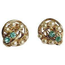 Vintage Coro Faux Pearl & Blue Rhinestone Gold-tone Screw Back Earrings Signed