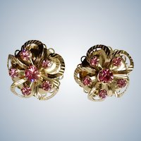 Gorgeous Vintage Pink Crystal Rhinestones Gold-tone Screw Back Earrings Costume Jewelry 1""