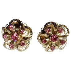 "Gorgeous Vintage Pink Crystal Rhinestones Gold-tone Screw Back Earrings Costume Jewelry 1"""