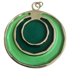 """Beautiful Green Faux Stained Glass Silver-tone Pendant Costume Jewelry 2"""""""