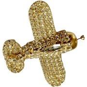 "Diamond Rhinestone Airplane Gold-tone Brooch Pin Dorothy Bauer Designs Costume Jewelry 2"""