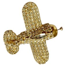 Diamond Rhinestone Airplane Gold-tone Brooch Pin Dorothy Bauer Designs Costume Jewelry 2""