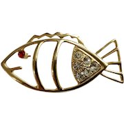 """Adorable Gold-tone Fish with Faux Ruby & Diamond Rhinestones Pin Brooch 2-3/4"""""""