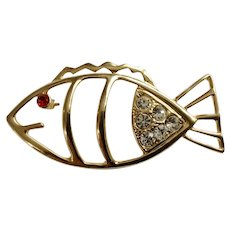 Adorable Gold-tone Fish with Faux Ruby & Diamond Rhinestones Pin Brooch 2-3/4""