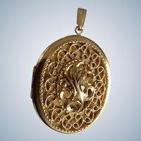 """Gold-tone Picture Locket Pendant With Floral Filagree Costume Jewelry 2-7/8"""""""