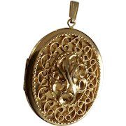 Gold-tone Picture Locket Pendant With Floral Filagree Costume Jewelry 2-7/8""