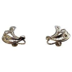 "Vintage Sterling Silver Screw Back Beautiful Bow Design Earrings Expo Flex 3/4"""