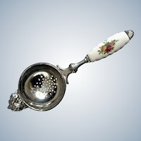 Rare Royal Albert Doulton Old Country Roses Silver Plated Tea Strainer