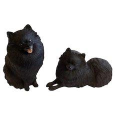 Black Pomeranian Dogs Lifelike Figurines Hand-Painted Danbury Mint Cold-Cast Retired Figurines