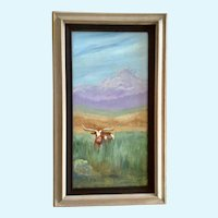 Peggie Foy, Texas Longhorn Cow In Tall Grass Oil Painting