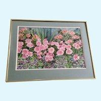 Floral Landscape Petunia and Geranium Flowers Watercolor Painting
