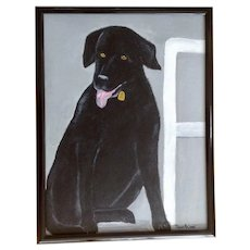 Masako, Adorable Black Labrador Retriever Dog Acrylic Painting on Canvas Signed by Artist