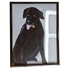 Masako, Adorable Black Labrador Retriever Dog Acrylic Painting on Canvas Signed by Artist