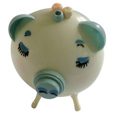 Mid-Century Plastic Blue Little Pig Cotton Ball and Q-tip Holder for Baby Boy