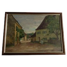 Max Landschreiber (1880-1961) Rural European Street Scene Oil Painting On Board Signed By Listed German Artist