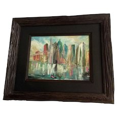 New York City Skyline Brooklyn Bridge Cityscape Oil Painting on Canvas Signed By Artist