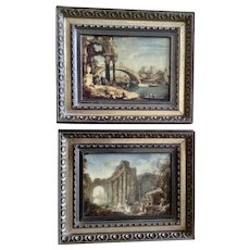Early 1970's Italian European Scenes Old Master Prints in Frames