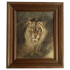 Eugene Delacroix Vintage Print of 'Tete De Lion'