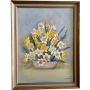 Hazel Owens, Still Life Yellow and White Daffodils Oil Painting on Canvas Signed by Artist