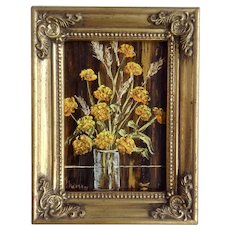 M Jarman, Yellow Orange Flowers in Glass Still Life Oil Painting On Board