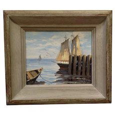 Small Seascape of Ships at Dock Oil Painting On Canvas Signed By Artist J. Lair