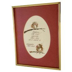Mae Niolet, Baby Birdies Children's Poem Bird Watercolor Painting Signed by Artist
