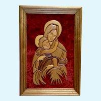Religious Mother Mary & Baby Jesus Handmade Folk Art Intarsia Wood Carving