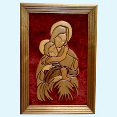 Religious Mother Mary & Baby Jesus Madonna and Child Handmade Folk Art Intarsia Wood Carving Picture