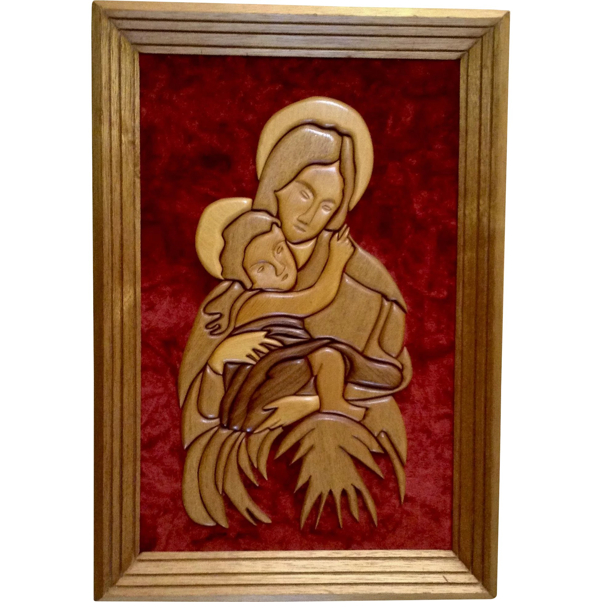 Antiques Vintage Modern Folk Art Hand Carved Wood Wall Plaque Madonna Mother And Child Online Discount Decorative Arts