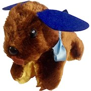 Adorable Mid-Century Stuffed Plush Puppy Dog Toy with Felt Ears & Tail