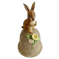 Bunny Rabbit Bell Figurine With Yellow and Pink Flowers Towle Fine Bone China