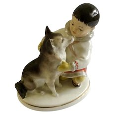 Eskimo Yakut Boy with Husky Dog Figurine Lomonosov Porcelain USSR Russia