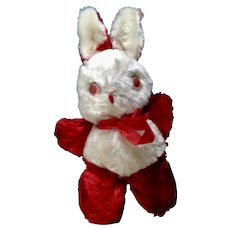 Small Red and White Mid-Century Pink Eyes Bunny Rabbit Stuffed Plush Animal With Original Red Bow