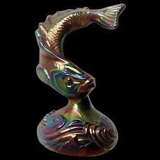 Gorgeous Fenton Iridescent Black, Blue and Purple Jumping Trout Fish Glass Paperweight Vintage Figurine