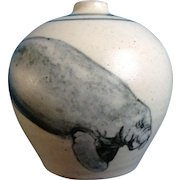 Manatee Sea Cows Ceramic Stoneware Bud Vase Art Pottery Signed By Artist Nancy