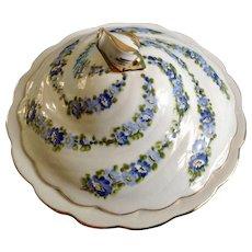 "Covered Serving Dish Turkish Milli Saraylar Yıldız Porselen Hand Painted Floral Motif 9"" Porcelain Signed by Artist B. Ding"