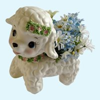 Mid-Century Lefton Lamb Baby Planter Ceramic Japan Figurine
