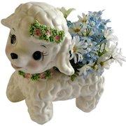 Rare Lefton Lamb Spaghetti Trim 1202 Planter Mid-Century Ceramic Baby Japan Figurine