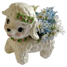 Mid-Century Lefton Lamb Spaghetti Trim 1202 Planter Ceramic Baby Japan Figurine