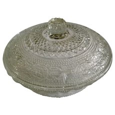 Vintage KIG Malaysia Clear Glass Covered Candy Dish Scalloped Edges and Fleur-de-lis Pattern