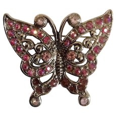 Pink Butterfly Rhinestone Brooch Pin Costume Jewelry 2""