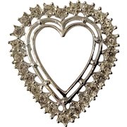 "Diamond Crystal Rhinestone Heart Brooch Pin Costume Jewelry 1-1/4"""