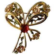 Vintage Pink Flowers On Gold-tone Bow With Sparkling Rhinestones Brooch Pin Costume Jewelry 2""
