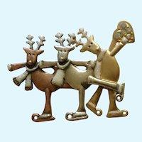 "Christmas Ice Skating Reindeer KC Brooch Pin 2-1/2"""